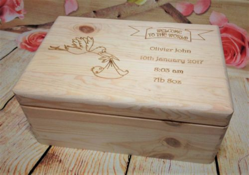 Personalised Wooden Box Baby Newborn Babyshower Bespoke Gift Present Keepsake Shower