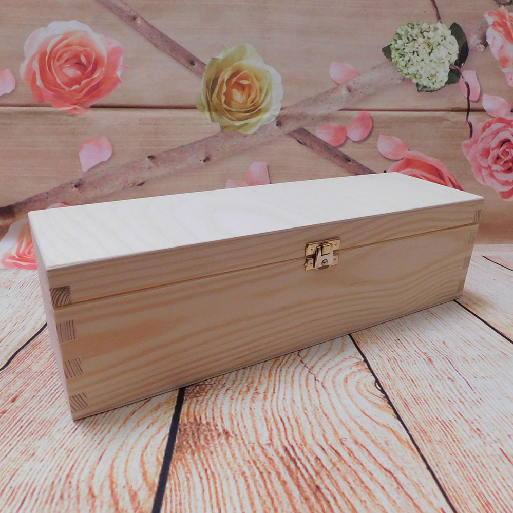 Plain Wooden Wine Box Wine Case Gift Box With Hinges 1 Bottle