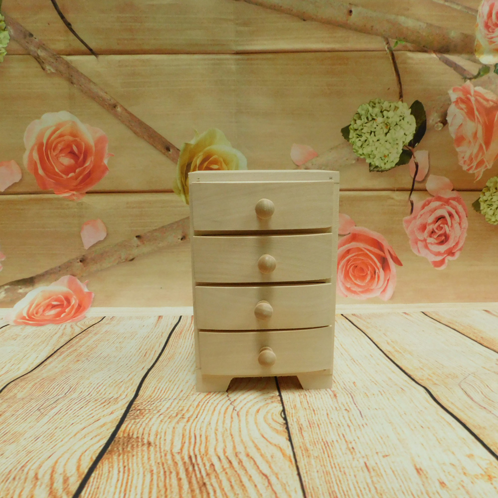 Unpainted Wooden Chest With 4 Drawers