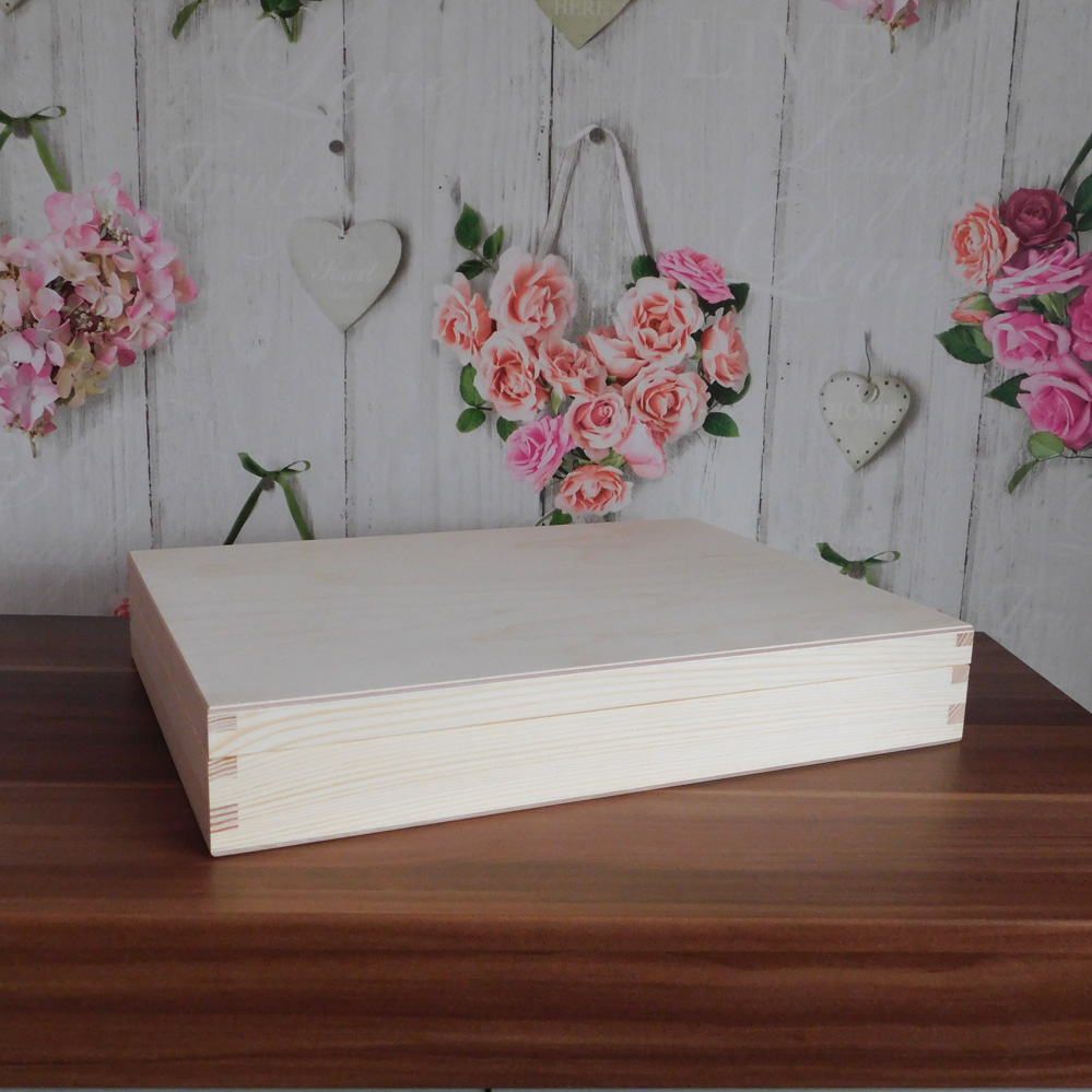 Unpainted Wooden Flat Box A4 Size Magazine Plain Wooden Box Decoupage Art  Hand Craft 34,2x25,2 x 5,2 cm