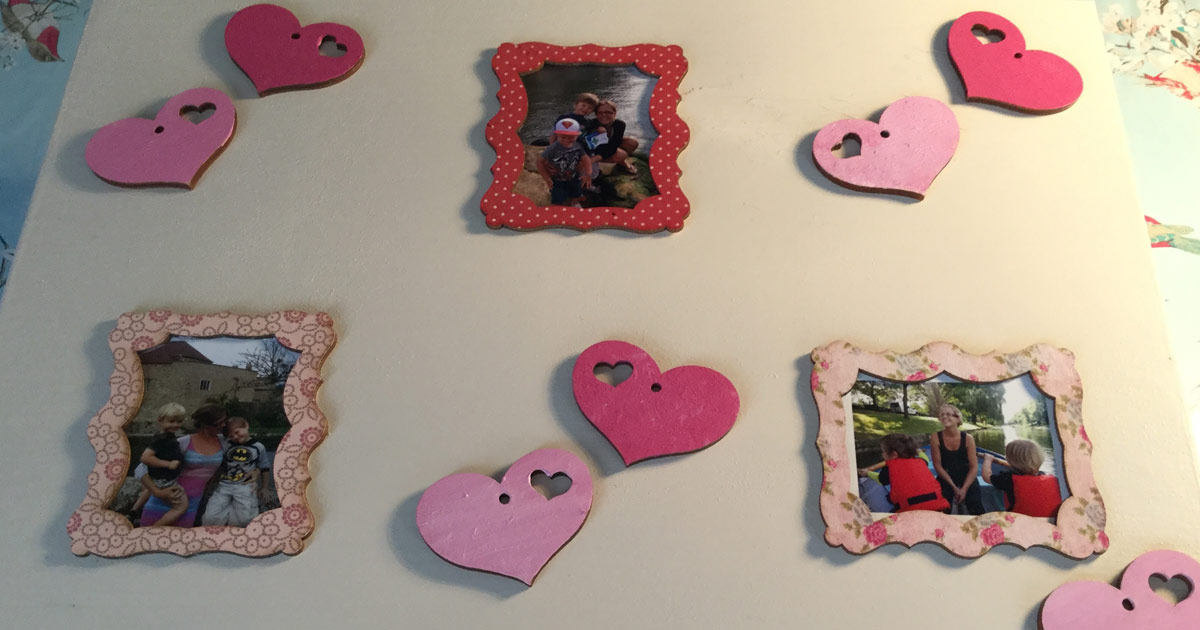 Sticking Hearts on wooden craft jewellery box