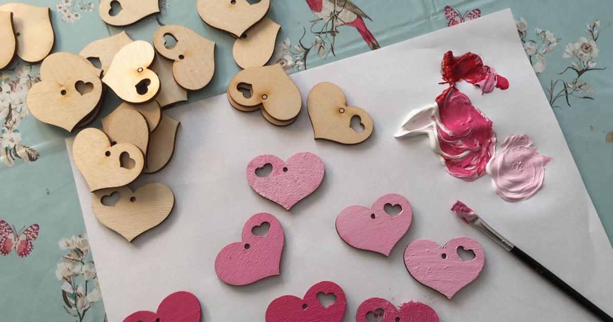 Decorative wooden hearts