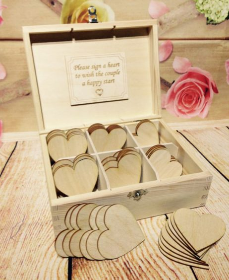 Box 60 Hearts Wedding Guest Book Wooden Heart Wishes Bride And Groom Personalised Gift Wishing Well Best Drop In With Clasp