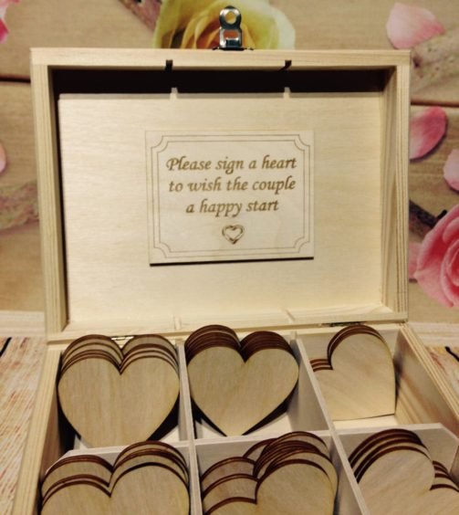 Box 40 Hearts Wedding Guest Book Box Wooden Heart Wishes