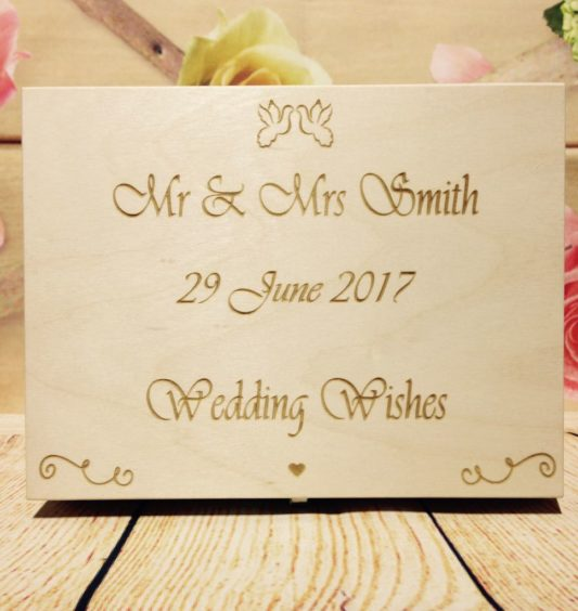 Box 60 Hearts Wedding Guest Book Box Wooden Heart Wishes Bride And