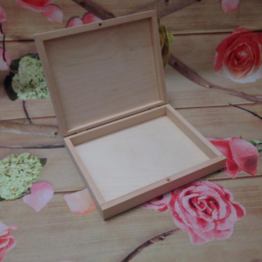 Flat Wooden Box Case Crayons Pencils Jewllery Box Plain Unpainted Wood 21x 17x 4cm