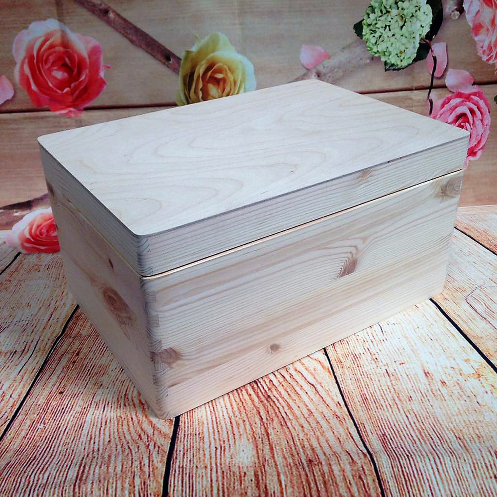 Natural Wooden Box Christmas Eve Box Tool Case Memory Box 35x 25x 18cm